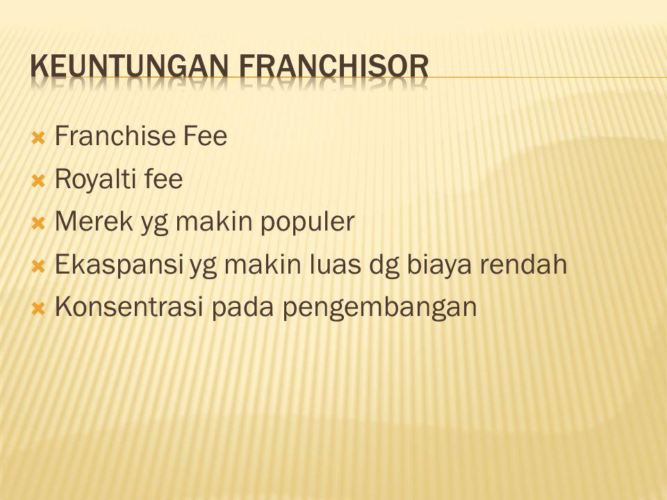  Franchise Fee  Royalti fee  Merek yg makin populer  Ekaspansi yg makin luas dg biaya rendah  Konsentrasi pada pengembangan