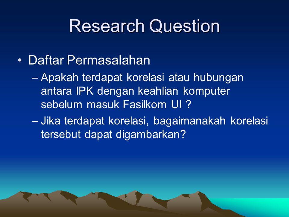 Research Question Daftar Permasalahan –Apakah terdapat korelasi atau hubungan antara IPK dengan keahlian komputer sebelum masuk Fasilkom UI ? –Jika te