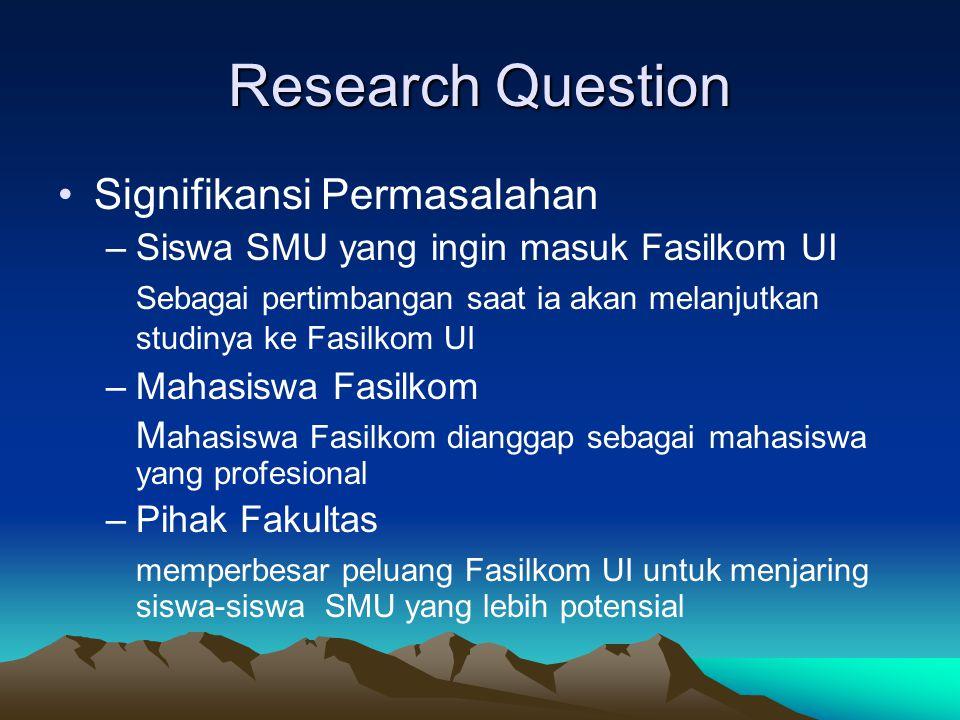 Research Question Signifikansi Permasalahan –Siswa SMU yang ingin masuk Fasilkom UI Sebagai pertimbangan saat ia akan melanjutkan studinya ke Fasilkom