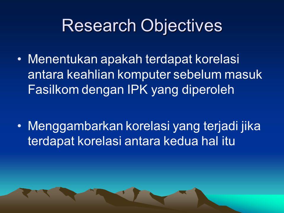 Research Objectives Menentukan apakah terdapat korelasi antara keahlian komputer sebelum masuk Fasilkom dengan IPK yang diperoleh Menggambarkan korela