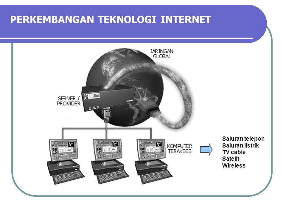 PERKEMBANGAN TEKNOLOGI INTERNET Saluran telepon Saluran listrik TV cable Satelit Wireless