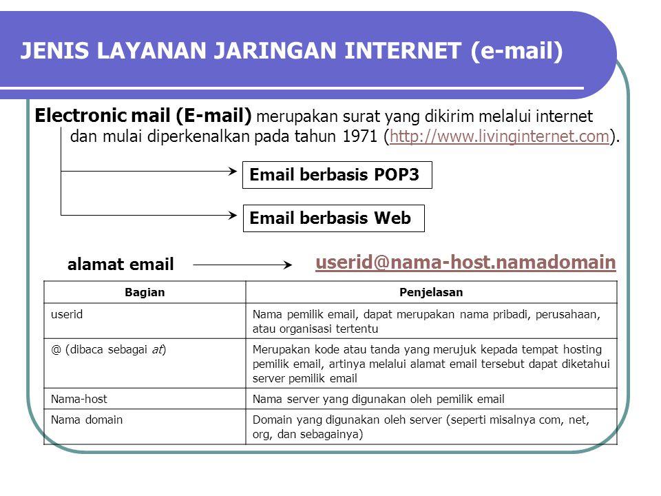 JENIS LAYANAN JARINGAN INTERNET (e-mail) Electronic mail (E-mail) merupakan surat yang dikirim melalui internet dan mulai diperkenalkan pada tahun 1971 (http://www.livinginternet.com).http://www.livinginternet.com Email berbasis POP3 Email berbasis Web alamat email userid@nama-host.namadomain BagianPenjelasan useridNama pemilik email, dapat merupakan nama pribadi, perusahaan, atau organisasi tertentu @ (dibaca sebagai at)Merupakan kode atau tanda yang merujuk kepada tempat hosting pemilik email, artinya melalui alamat email tersebut dapat diketahui server pemilik email Nama-hostNama server yang digunakan oleh pemilik email Nama domainDomain yang digunakan oleh server (seperti misalnya com, net, org, dan sebagainya)