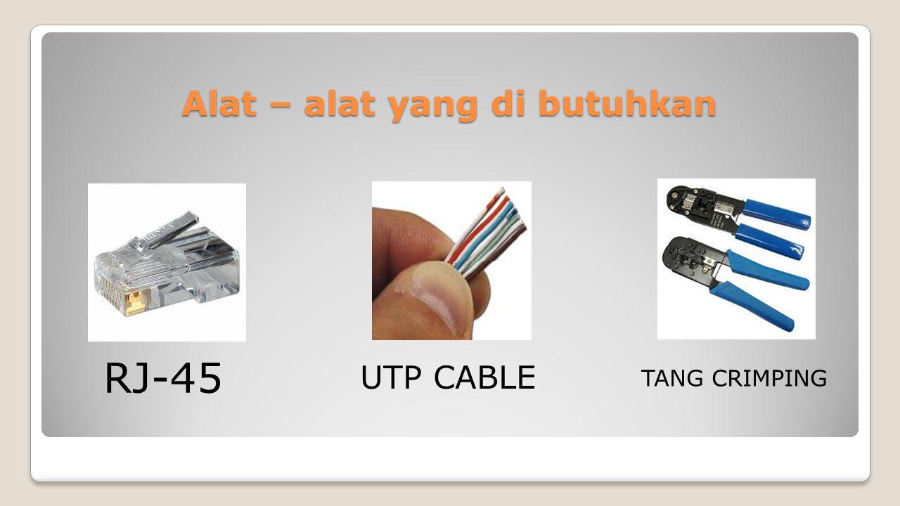Membuat Jaringan LAN Pertama Susun UTP CABLE sesuai dengan urutan Susunan UTP CABLE STRAIGHT Kedua Potong ujung UTP Cable secara Rata Susunan Cable