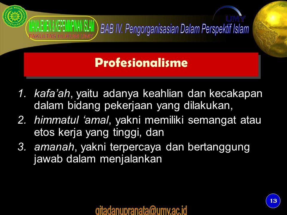 13 Profesionalisme 1.kafa'ah, yaitu adanya keahlian dan kecakapan dalam bidang pekerjaan yang dilakukan, 2.himmatul 'amal, yakni memiliki semangat ata