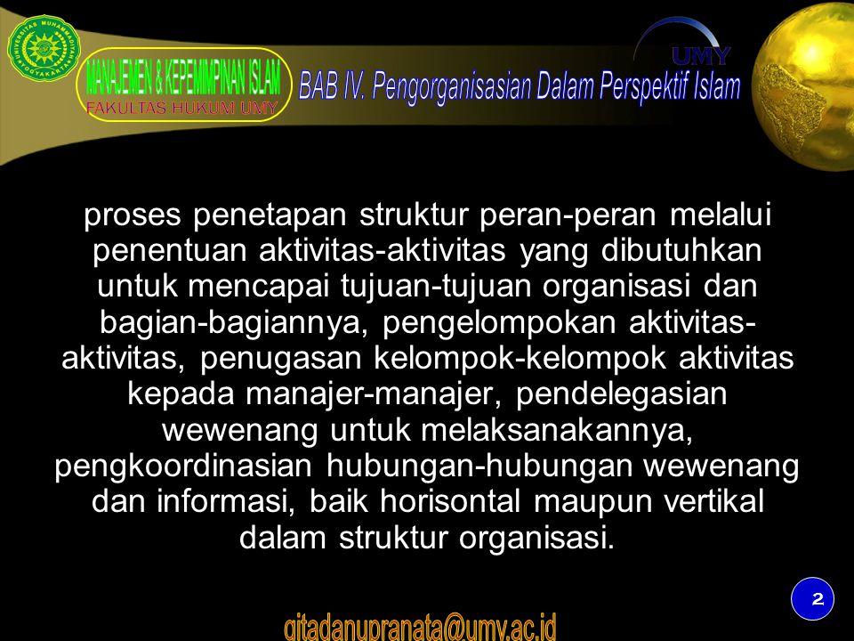 3 Prinsip Pengorganisasian 1.Perumusan tujuan 2.Kesatuan arah 3.Pembagian kerja 4.Pendelegasian wewenang dan tanggungjawab 5.Koordinasi 6.Rentang manajemen 7.Tingkat pengawasan.