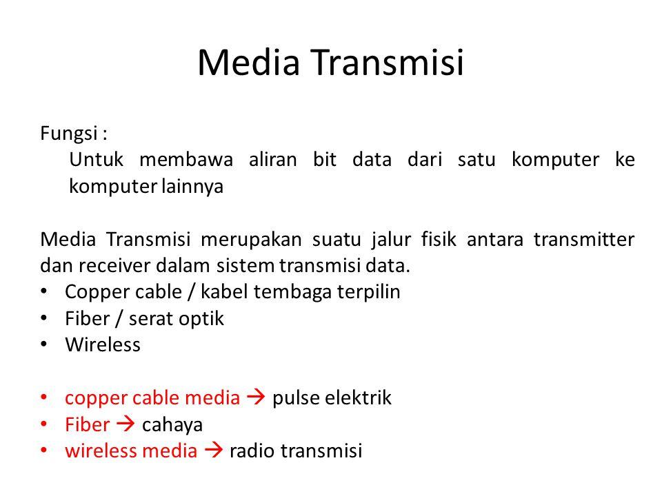 Media Transmisi Fungsi : Untuk membawa aliran bit data dari satu komputer ke komputer lainnya Media Transmisi merupakan suatu jalur fisik antara trans