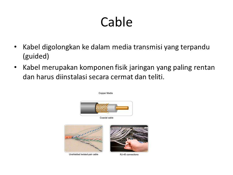 Cable Kabel digolongkan ke dalam media transmisi yang terpandu (guided) Kabel merupakan komponen fisik jaringan yang paling rentan dan harus diinstala