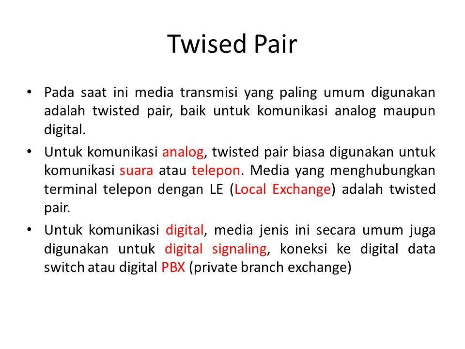 Twised Pair Pada saat ini media transmisi yang paling umum digunakan adalah twisted pair, baik untuk komunikasi analog maupun digital. Untuk komunikas