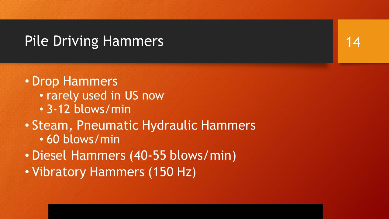 Pile Driving Hammers Drop Hammers rarely used in US now 3-12 blows/min Steam, Pneumatic Hydraulic Hammers 60 blows/min Diesel Hammers (40-55 blows/min) Vibratory Hammers (150 Hz) 14
