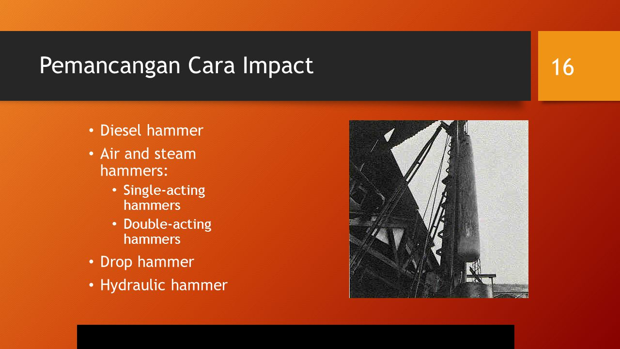 Pemancangan Cara Impact 16 Diesel hammer Air and steam hammers: Single-acting hammers Double-acting hammers Drop hammer Hydraulic hammer