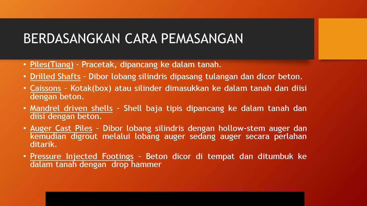 BERDASANGKAN CARA PEMASANGAN Piles(Tiang) – Pracetak, dipancang ke dalam tanah. Drilled Shafts – Dibor lobang silindris dipasang tulangan dan dicor be