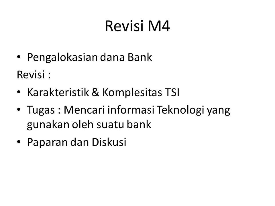 Revisi M4 Pengalokasian dana Bank Revisi : Karakteristik & Komplesitas TSI Tugas : Mencari informasi Teknologi yang gunakan oleh suatu bank Paparan da