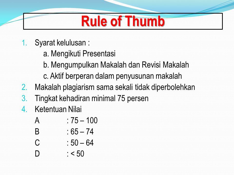 Rule of Thumb 1. Syarat kelulusan : a. Mengikuti Presentasi b. Mengumpulkan Makalah dan Revisi Makalah c. Aktif berperan dalam penyusunan makalah 2.Ma