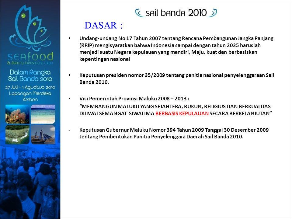 Undang-undang No 17 Tahun 2007 tentang Rencana Pembangunan Jangka Panjang (RPJP) mengisyaratkan bahwa Indonesia sampai dengan tahun 2025 haruslah menjadi suatu Negara kepulauan yang mandiri, Maju, kuat dan berbasiskan kepentingan nasional Keputusan presiden nomor 35/2009 tentang panitia nasional penyelenggaraan Sail Banda 2010, Visi Pemerintah Provinsi Maluku 2008 – 2013 : MEMBANGUN MALUKU YANG SEJAHTERA, RUKUN, RELIGIUS DAN BERKUALITAS DIJIWAI SEMANGAT SIWALIMA BERBASIS KEPULAUAN SECARA BERKELANJUTAN -Keputusan Gubernur Maluku Nomor 394 Tahun 2009 Tanggal 30 Desember 2009 tentang Pembentukan Panitia Penyelenggara Daerah Sail Banda 2010.