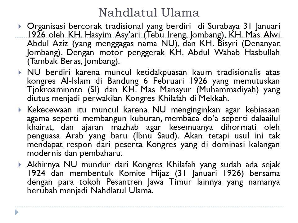 Nahdlatul Ulama  Organisasi bercorak tradisional yang berdiri di Surabaya 31 Januari 1926 oleh KH. Hasyim Asy'ari (Tebu Ireng, Jombang), KH. Mas Alwi