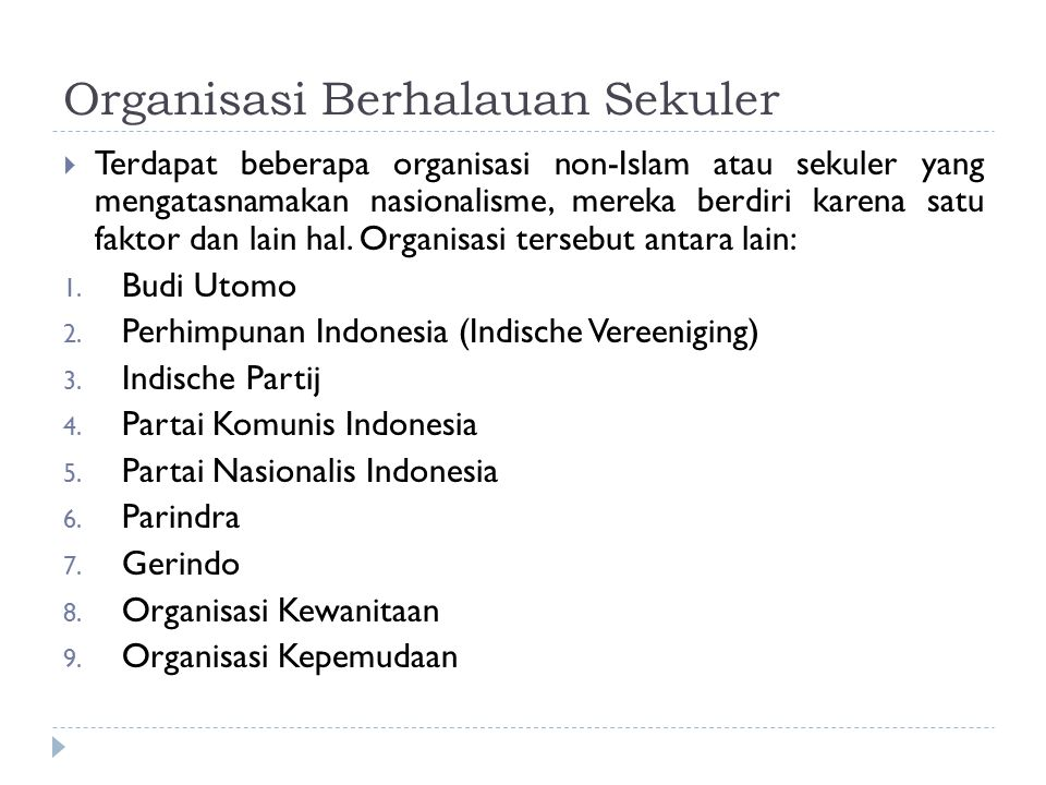 Organisasi Berhalauan Sekuler  Terdapat beberapa organisasi non-Islam atau sekuler yang mengatasnamakan nasionalisme, mereka berdiri karena satu faktor dan lain hal.