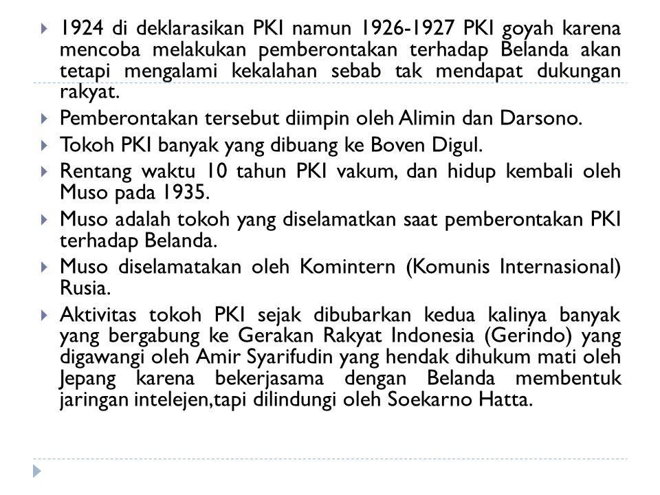  1924 di deklarasikan PKI namun 1926-1927 PKI goyah karena mencoba melakukan pemberontakan terhadap Belanda akan tetapi mengalami kekalahan sebab tak