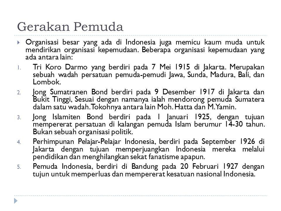 Gerakan Pemuda  Organisasi besar yang ada di Indonesia juga memicu kaum muda untuk mendirikan organisasi kepemudaan. Beberapa organisasi kepemudaan y