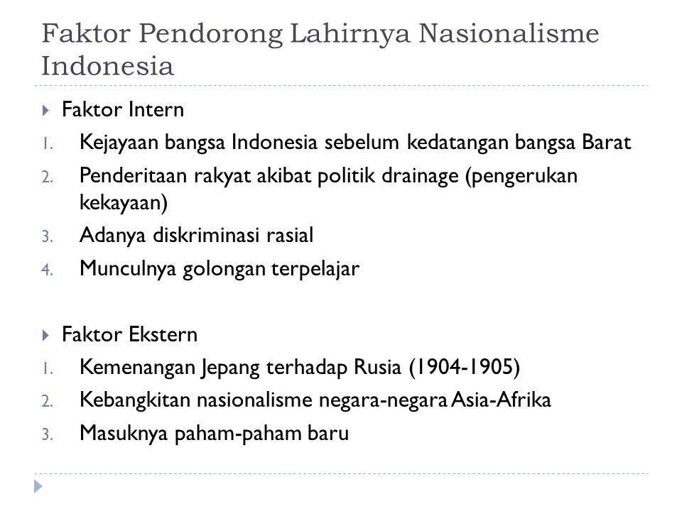 Faktor Pendorong Lahirnya Nasionalisme Indonesia  Faktor Intern 1. Kejayaan bangsa Indonesia sebelum kedatangan bangsa Barat 2. Penderitaan rakyat ak