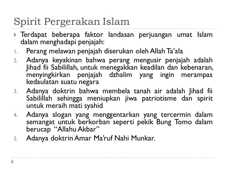 Spirit Pergerakan Islam  Terdapat beberapa faktor landasan perjuangan umat Islam dalam menghadapi penjajah: 1. Perang melawan penjajah diserukan oleh