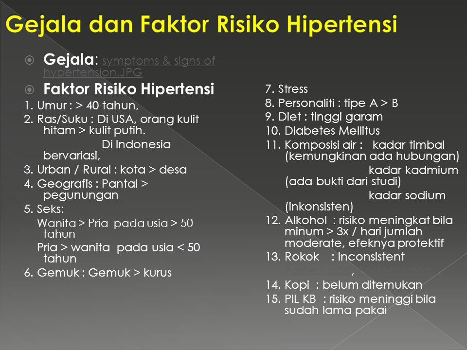  Gejala : symptoms & signs of hypertension.JPGsymptoms & signs of hypertension.JPG  Faktor Risiko Hipertensi 1. Umur : > 40 tahun, 2. Ras/Suku : Di