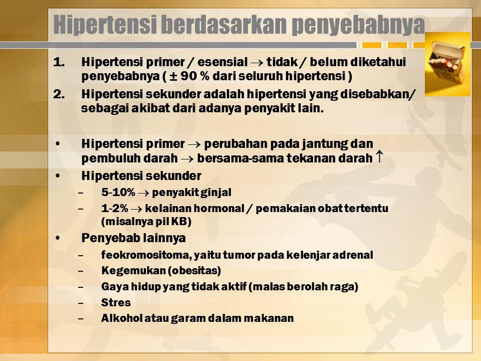 Hipertensi berdasarkan penyebabnya 1.Hipertensi primer / esensial  tidak / belum diketahui penyebabnya ( ± 90 % dari seluruh hipertensi ) 2.Hipertensi sekunder adalah hipertensi yang disebabkan/ sebagai akibat dari adanya penyakit lain.