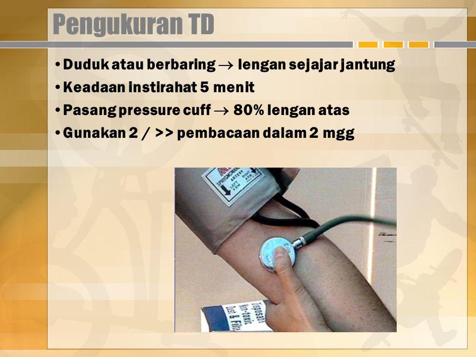 Pengukuran TD Duduk atau berbaring  lengan sejajar jantung Keadaan instirahat 5 menit Pasang pressure cuff  80% lengan atas Gunakan 2 / >> pembacaan dalam 2 mgg