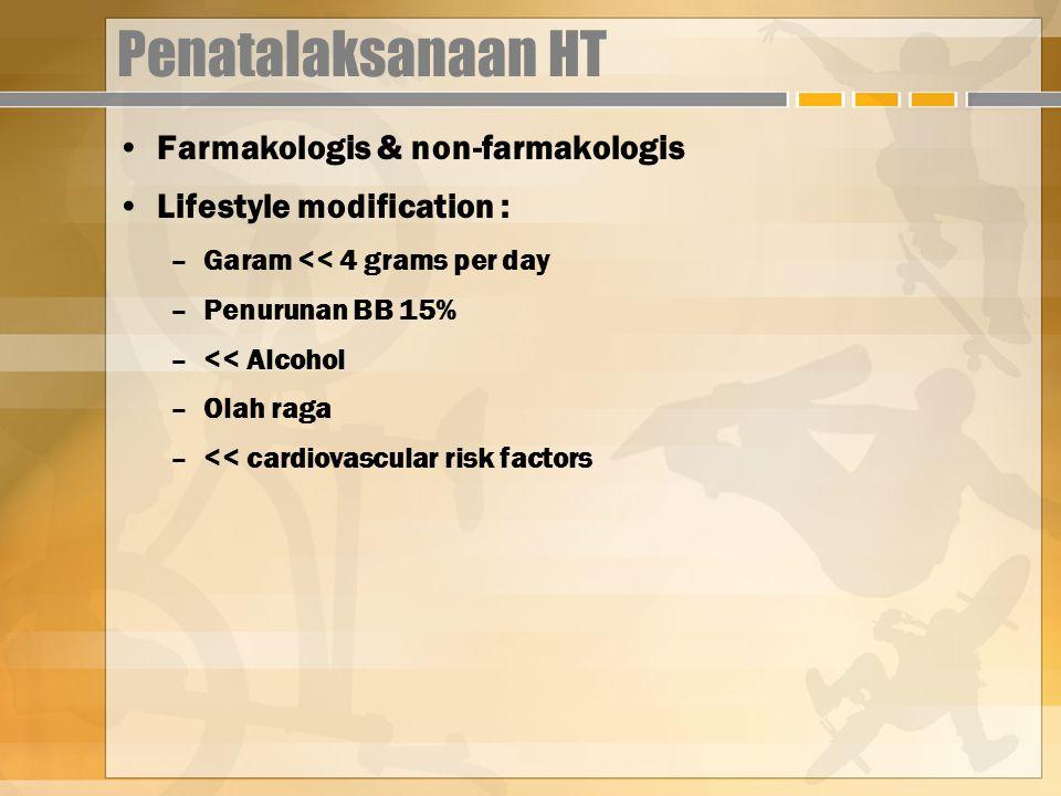 Penatalaksanaan HT Farmakologis & non-farmakologis Lifestyle modification : –Garam << 4 grams per day –Penurunan BB 15% –<< Alcohol –Olah raga –<< cardiovascular risk factors