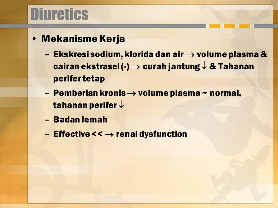 Diuretics Mekanisme Kerja –Ekskresi sodium, klorida dan air  volume plasma & cairan ekstrasel (-)  curah jantung  & Tahanan perifer tetap –Pemberian kronis  volume plasma ~ normal, tahanan perifer  –Badan lemah –Effective <<  renal dysfunction