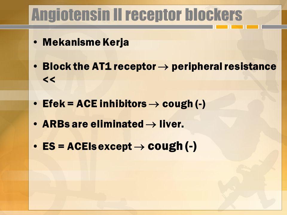 Angiotensin II receptor blockers Mekanisme Kerja Block the AT1 receptor  peripheral resistance << Efek = ACE inhibitors  cough (-) ARBs are eliminated  liver.