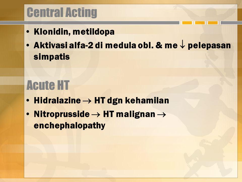 Central Acting Klonidin, metildopa Aktivasi alfa-2 di medula obl.