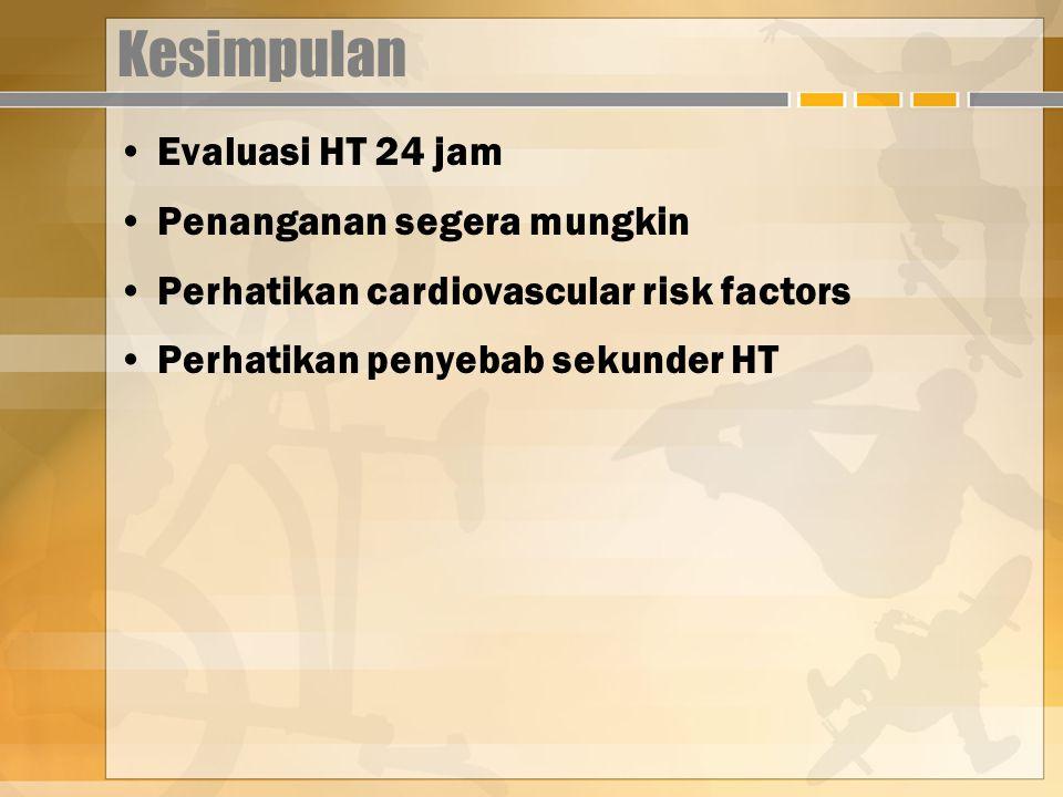 Kesimpulan Evaluasi HT 24 jam Penanganan segera mungkin Perhatikan cardiovascular risk factors Perhatikan penyebab sekunder HT