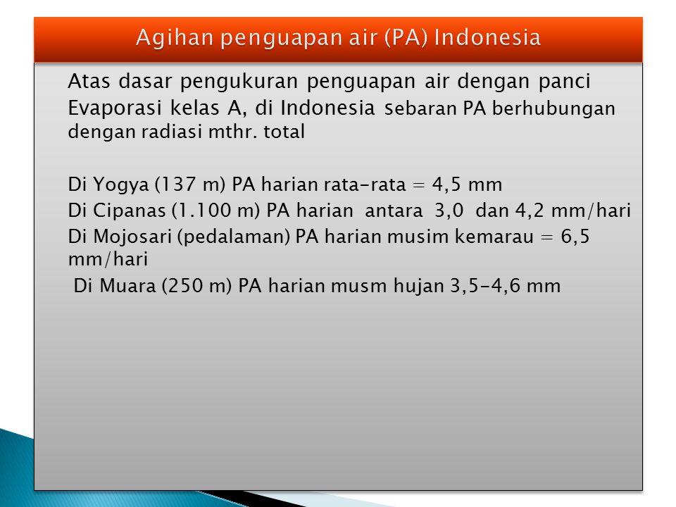 Atas dasar pengukuran penguapan air dengan panci Evaporasi kelas A, di Indonesia s ebaran PA berhubungan dengan radiasi mthr. total Di Yogya (137 m) P