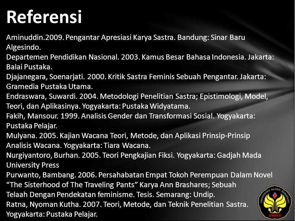 Referensi Aminuddin.2009. Pengantar Apresiasi Karya Sastra. Bandung: Sinar Baru Algesindo. Departemen Pendidikan Nasional. 2003. Kamus Besar Bahasa In