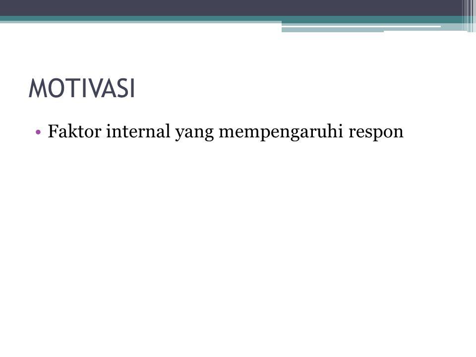 MOTIVASI Faktor internal yang mempengaruhi respon