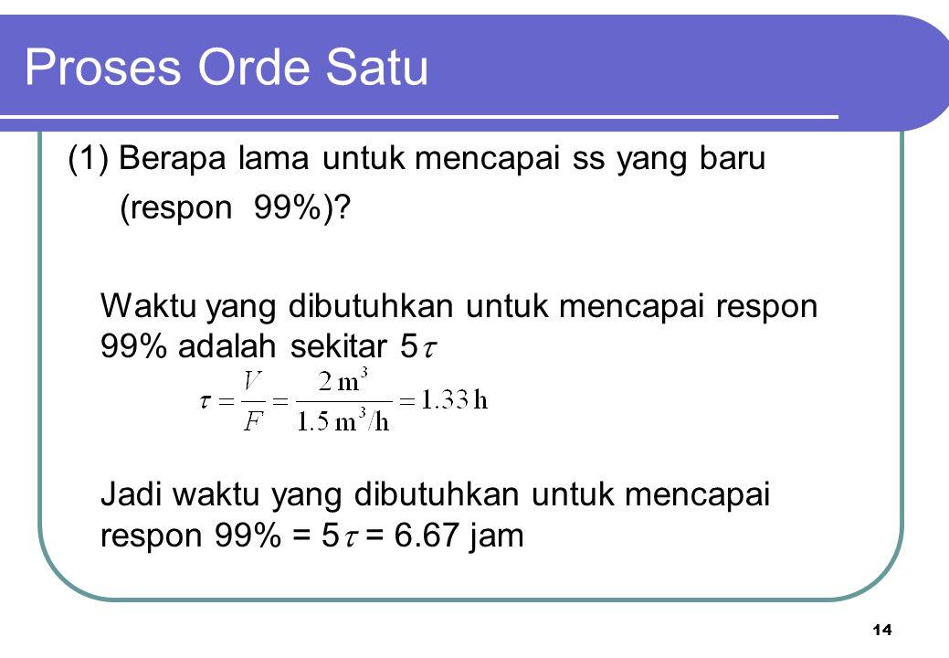 14 (1) Berapa lama untuk mencapai ss yang baru (respon 99%)? Waktu yang dibutuhkan untuk mencapai respon 99% adalah sekitar 5  Jadi waktu yang dibutu