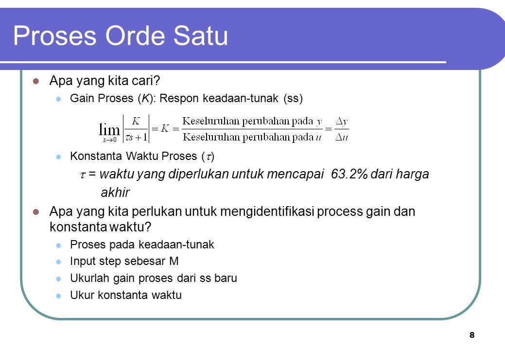 8 Apa yang kita cari? Gain Proses (K): Respon keadaan-tunak (ss) Konstanta Waktu Proses (  )  = waktu yang diperlukan untuk mencapai 63.2% dari harg