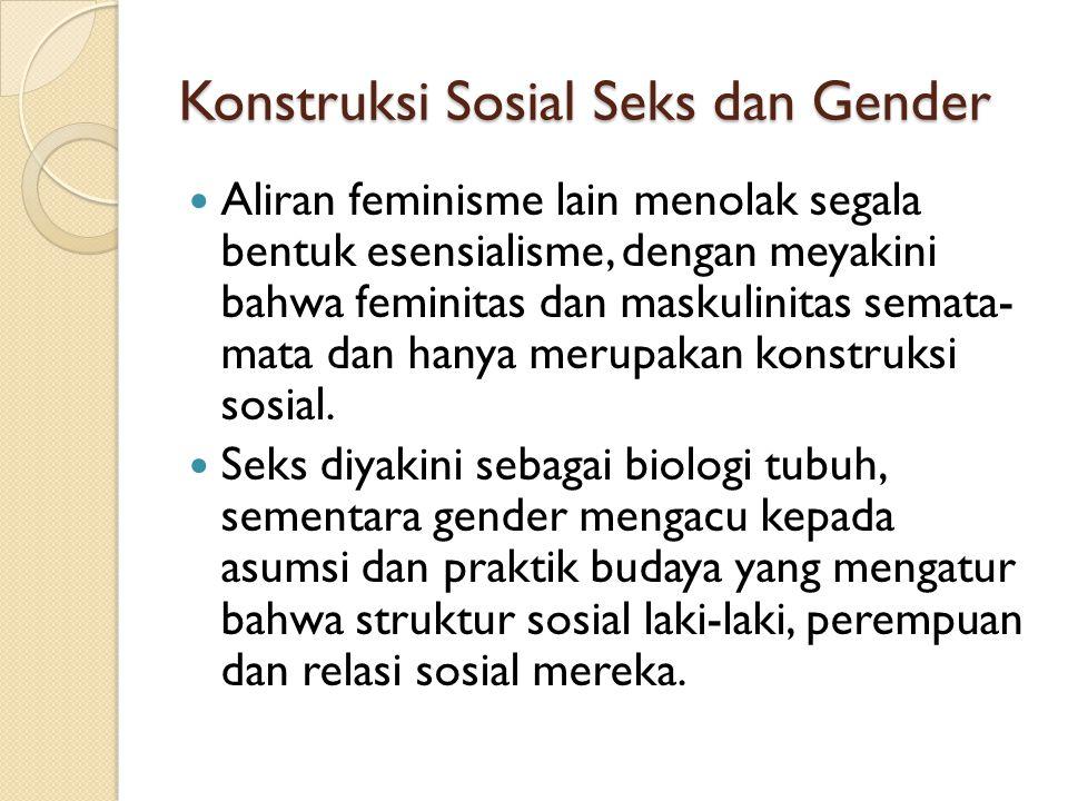 Konstruksi Sosial Seks dan Gender Aliran feminisme lain menolak segala bentuk esensialisme, dengan meyakini bahwa feminitas dan maskulinitas semata- m