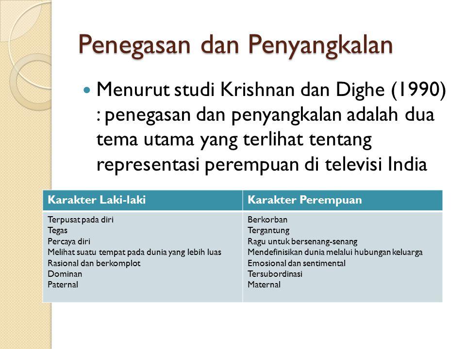 Penegasan dan Penyangkalan Menurut studi Krishnan dan Dighe (1990) : penegasan dan penyangkalan adalah dua tema utama yang terlihat tentang representa