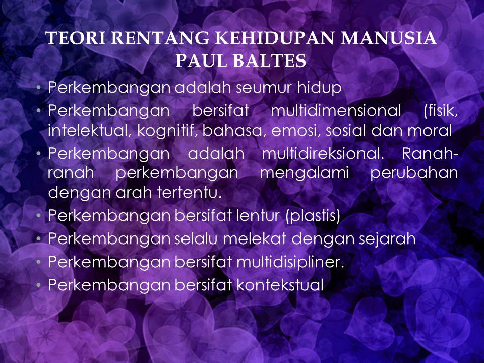 TEORI RENTANG KEHIDUPAN MANUSIA PAUL BALTES Perkembangan adalah seumur hidup Perkembangan bersifat multidimensional (fisik, intelektual, kognitif, bah
