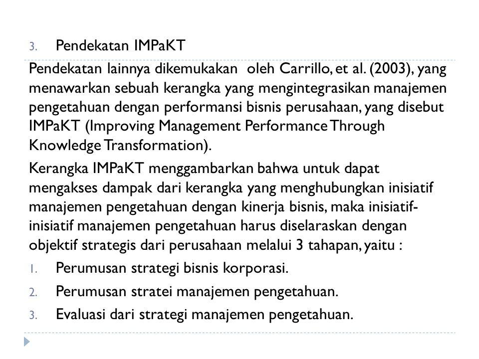 3. Pendekatan IMPaKT Pendekatan lainnya dikemukakan oleh Carrillo, et al. (2003), yang menawarkan sebuah kerangka yang mengintegrasikan manajemen peng