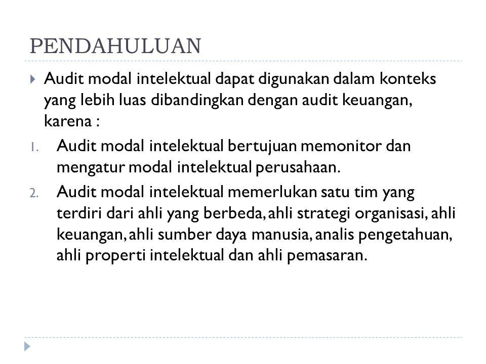 PENDAHULUAN  Audit modal intelektual dapat digunakan dalam konteks yang lebih luas dibandingkan dengan audit keuangan, karena : 1. Audit modal intele