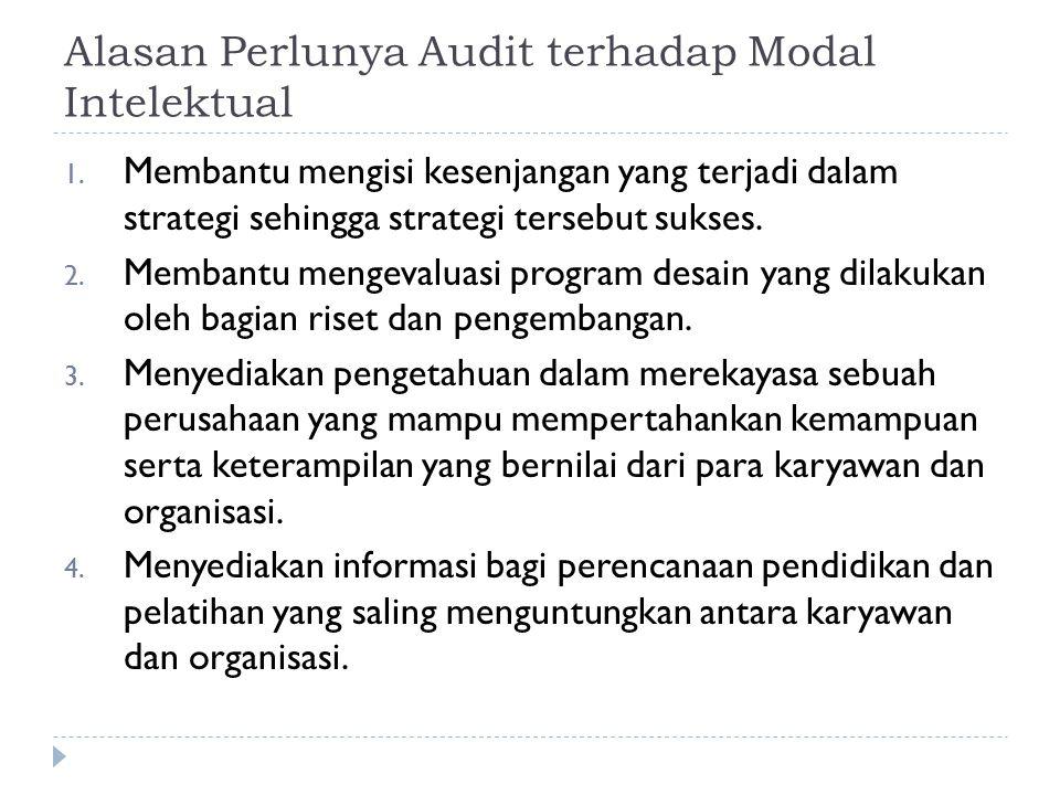 Alasan Perlunya Audit terhadap Modal Intelektual 1. Membantu mengisi kesenjangan yang terjadi dalam strategi sehingga strategi tersebut sukses. 2. Mem
