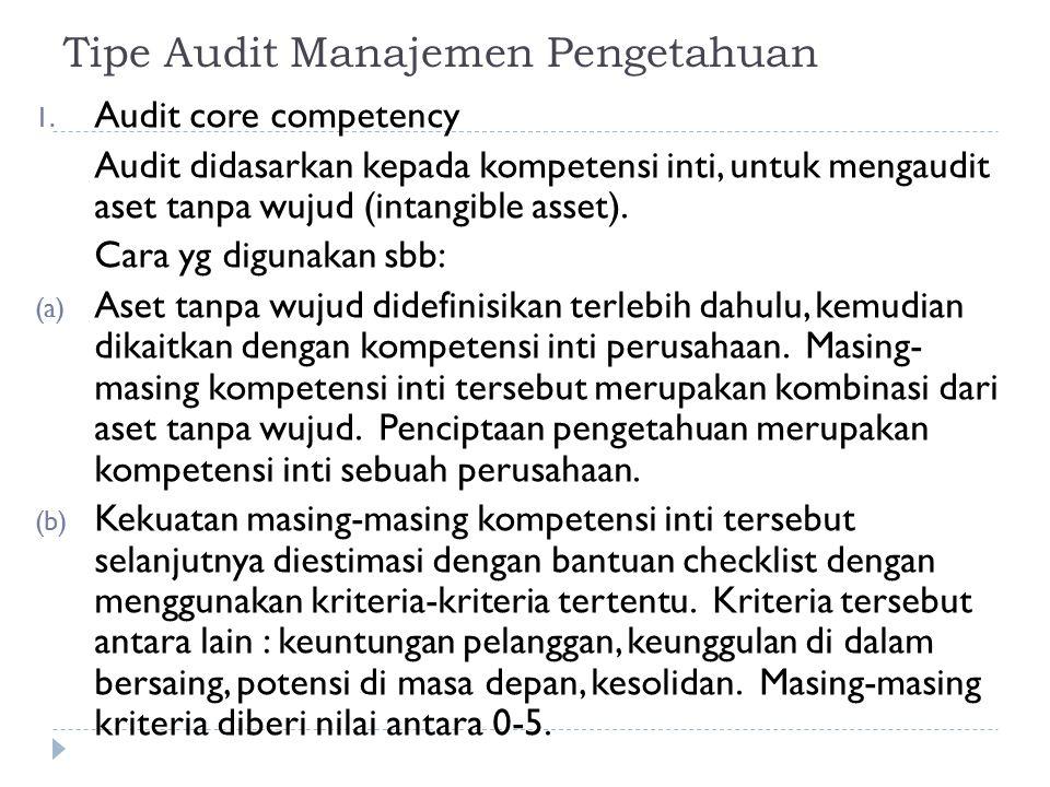 Tipe Audit Manajemen Pengetahuan 1. Audit core competency Audit didasarkan kepada kompetensi inti, untuk mengaudit aset tanpa wujud (intangible asset)