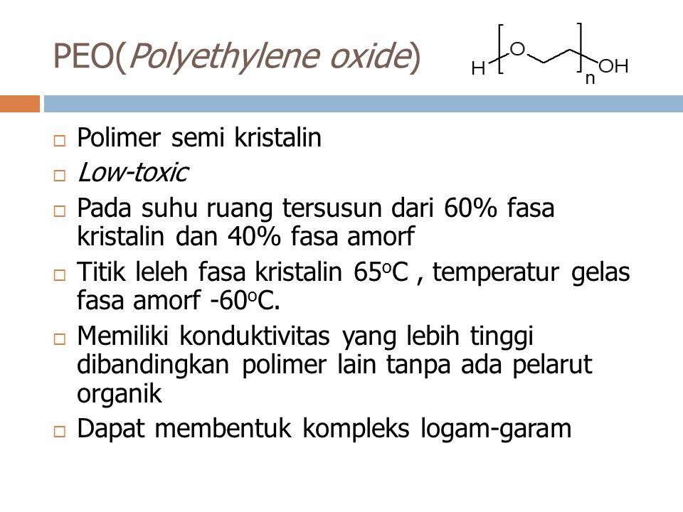 PEO(Polyethylene oxide)  Polimer semi kristalin  Low-toxic  Pada suhu ruang tersusun dari 60% fasa kristalin dan 40% fasa amorf  Titik leleh fasa