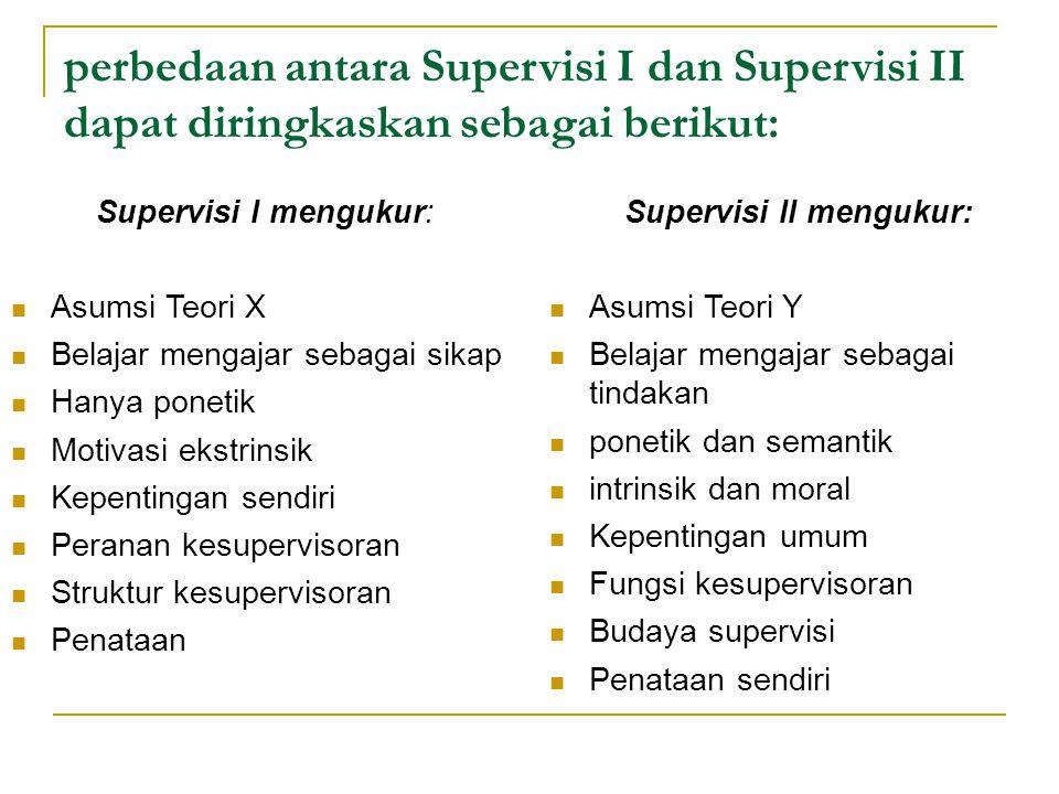 perbedaan antara Supervisi I dan Supervisi II dapat diringkaskan sebagai berikut: Supervisi I mengukur: Asumsi Teori X Belajar mengajar sebagai sikap