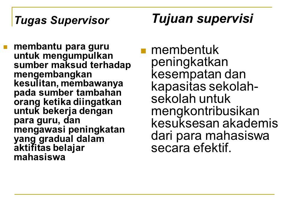 Tugas Supervisor membantu para guru untuk mengumpulkan sumber maksud terhadap mengembangkan kesulitan, membawanya pada sumber tambahan orang ketika di