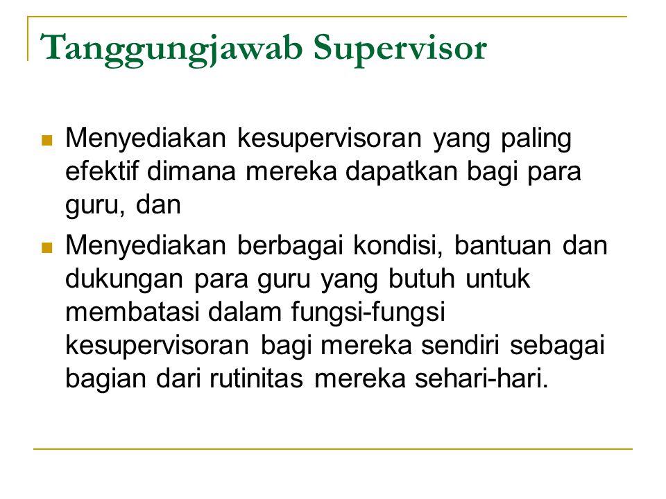 Tanggungjawab Supervisor Menyediakan kesupervisoran yang paling efektif dimana mereka dapatkan bagi para guru, dan Menyediakan berbagai kondisi, bantu