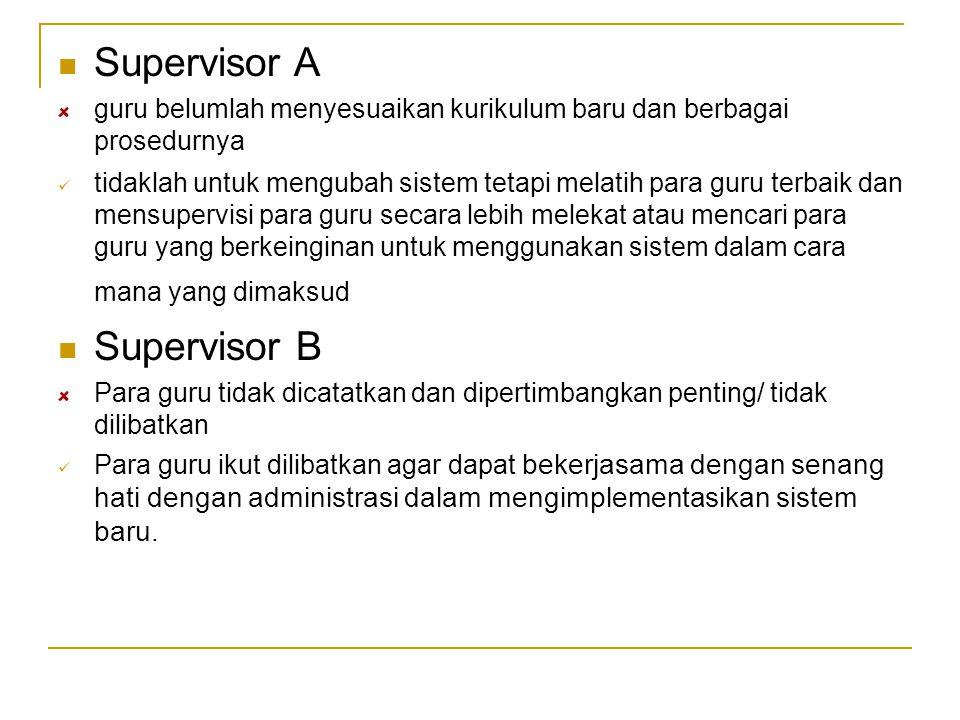 Supervisor A guru belumlah menyesuaikan kurikulum baru dan berbagai prosedurnya tidaklah untuk mengubah sistem tetapi melatih para guru terbaik dan me