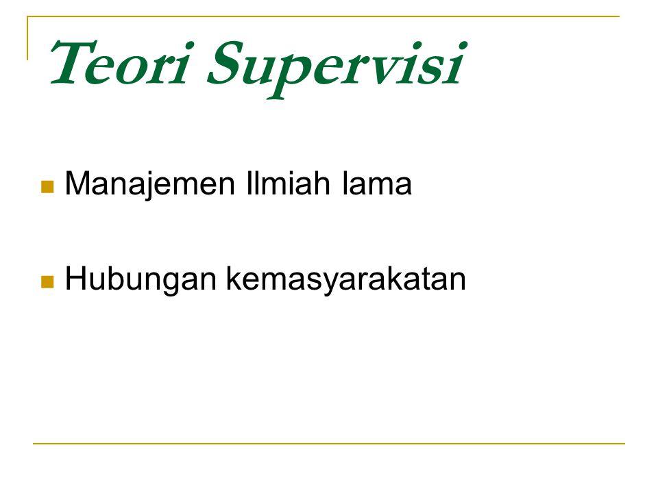 Teori Supervisi Manajemen Ilmiah lama Hubungan kemasyarakatan